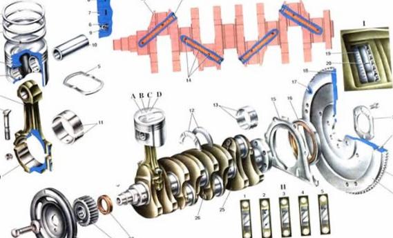 Кривошипно-шатунный механизм двигателя...