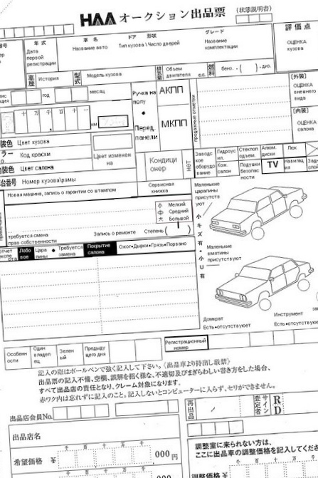 Шифровки американских аукционных автомобилей